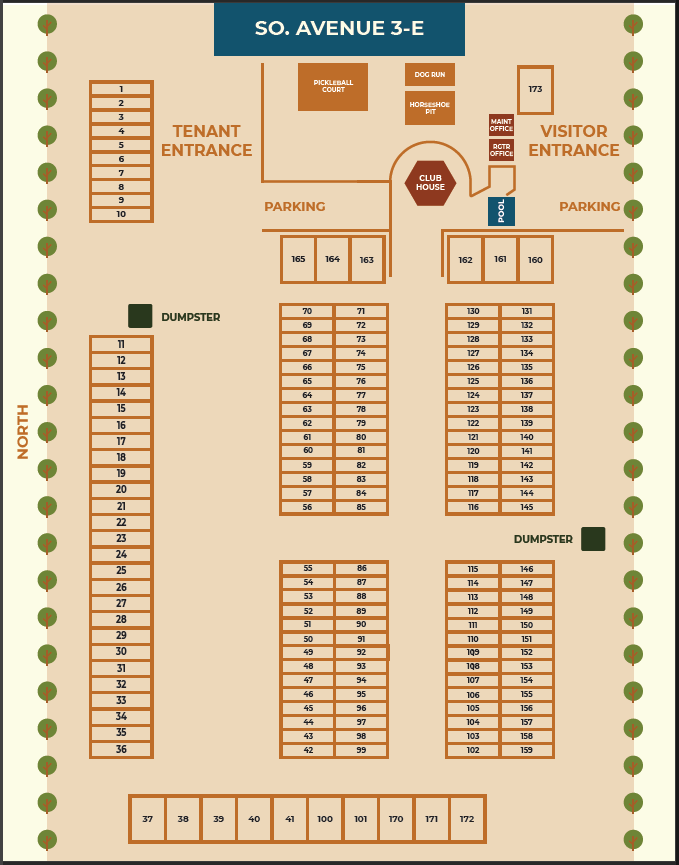 Park map with RV spaces numbered in columns of three.